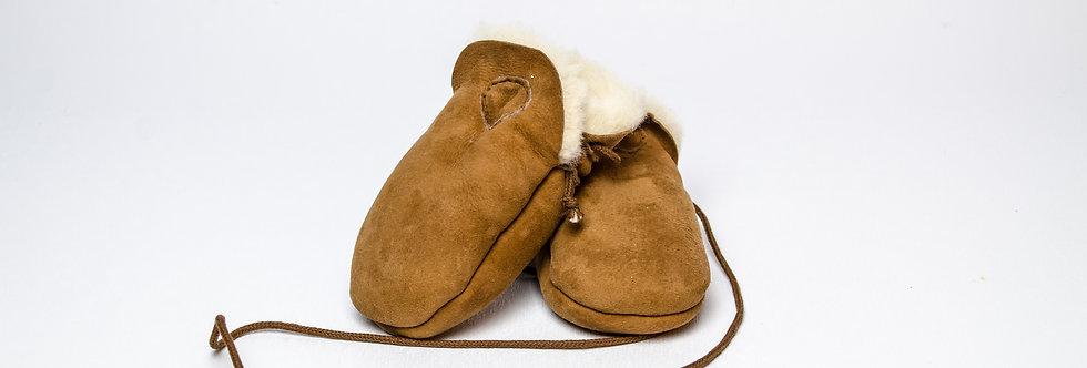 Sheepskin Baby Mittens Brown