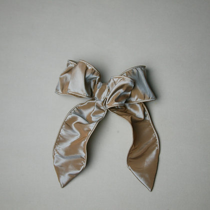 Taupe/Gold Satin Bow