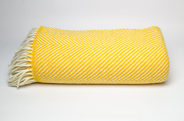 Yellow Herringbone Throw by Foxford