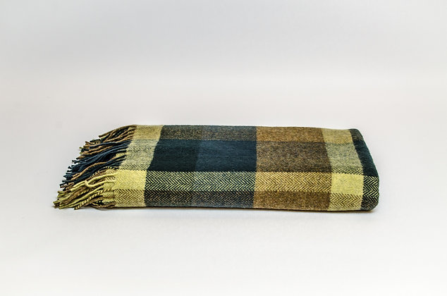 Peacock Small Check Throw by Foxford