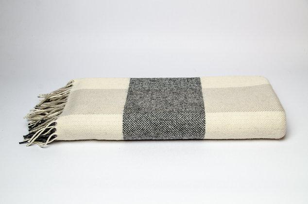 Grey/Bone/White Check Throw by Foxford