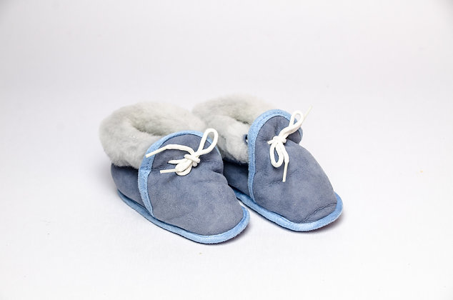 Sheepskin Baby Slippers Blue