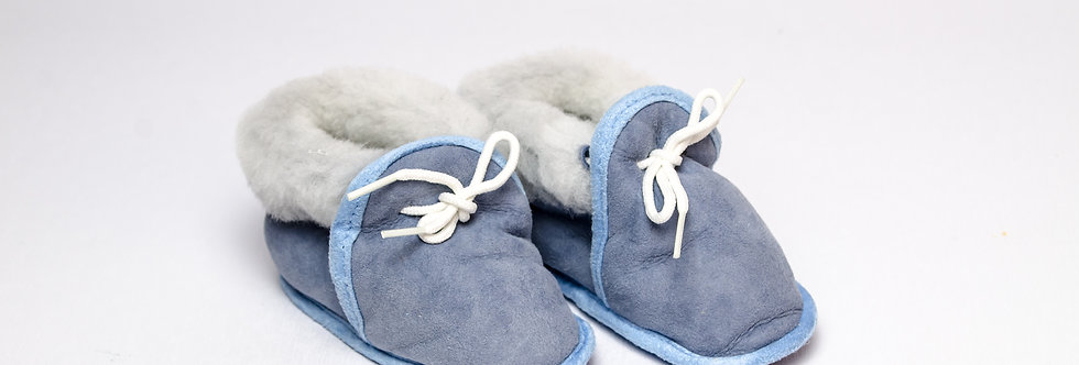 Sheepskin Baby Slippers Blue