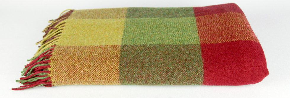 Red, Mustard, Green Check Lambswool Throw