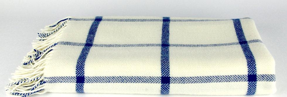 White & Blue Windowpane Lambswool Throw