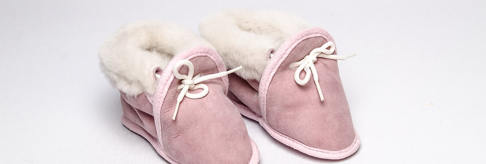 Sheepskin Baby Slippers Pink