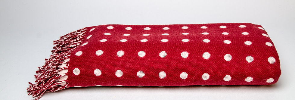 Red & White Spot Throw by Foxford