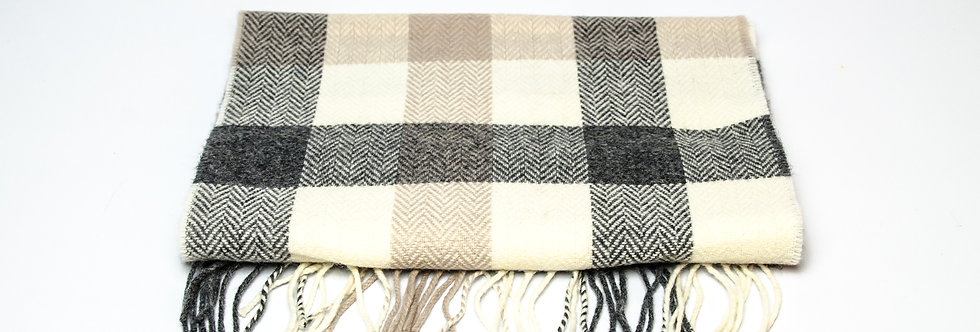 Neutral Block Check Scarf by Foxford