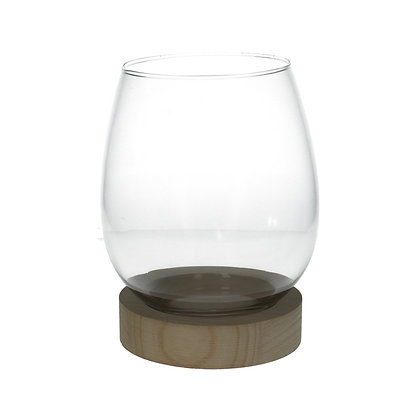 Glass Vase on Wood Foot
