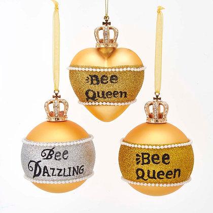 Bee Queen Hanging Glass Ornaments