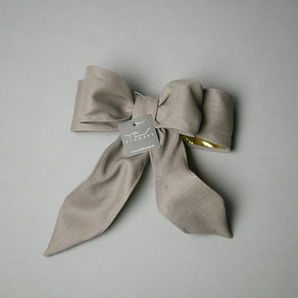 Taupe/Gold Linen Bow