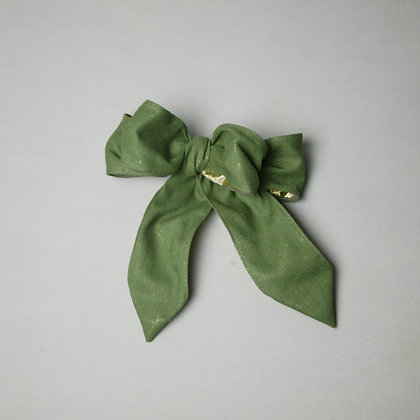 Green/Gold Linen Bow