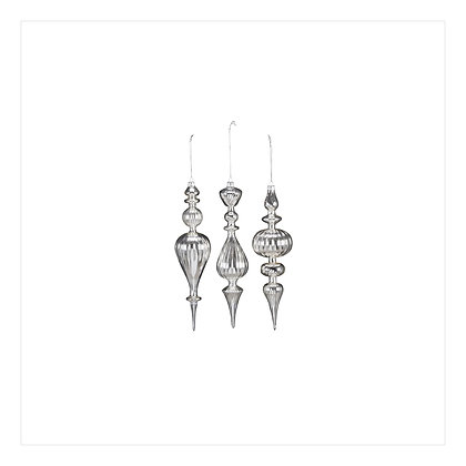 Glass Drop Ornaments Silver S/3