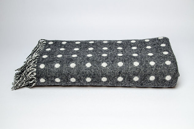 Grey & White Spot Throw by Foxford