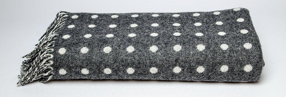 Grey & White Spot Throw by Foxford