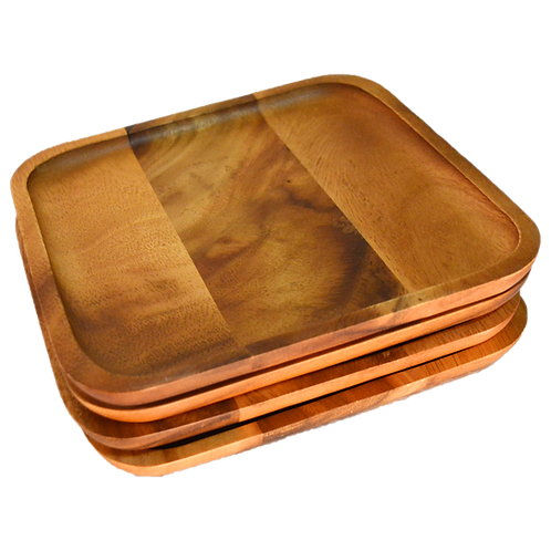 Natura Acacia Square Wood Charger/Accent Plate Set/4