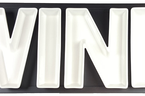 Vanilla Serve WINE Serving Dishes w/Wooden Tray
