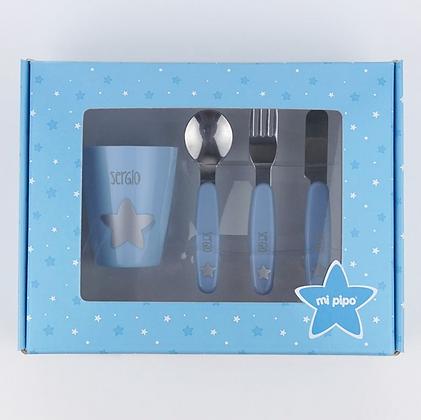 Set vasito y cubiertos personalizados azul