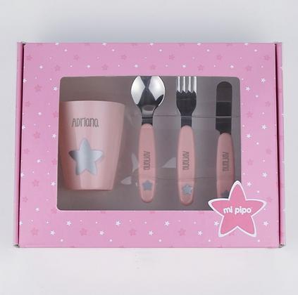 Set vasito y cubiertos personalizados rosa