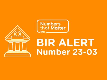 BIR Alert No. 23-03