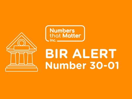 BIR Alert No. 30-01