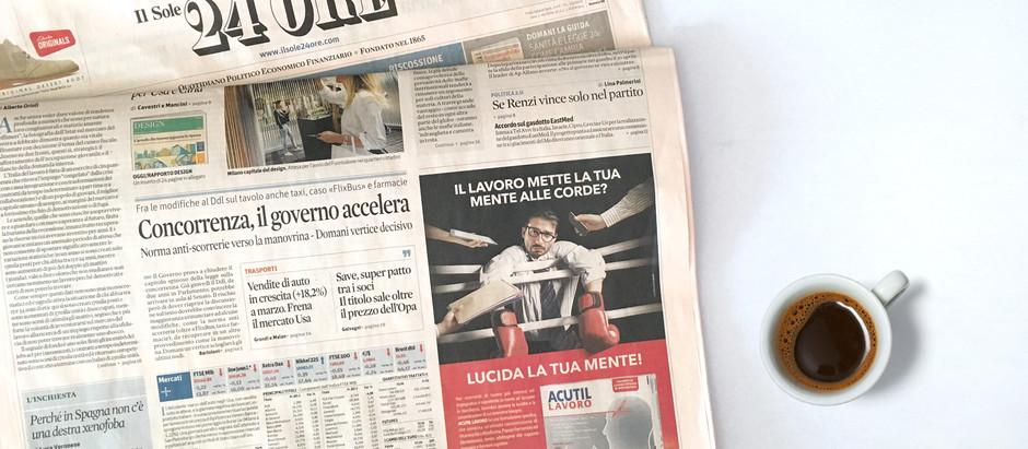 Prima pagina per la campagna Acutil Lavoro firmata sandromengadv.