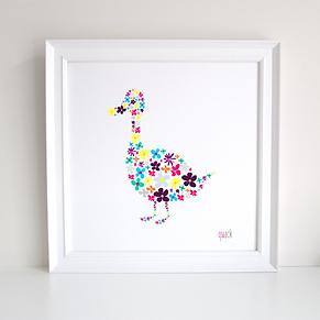 Duck decoupage art print