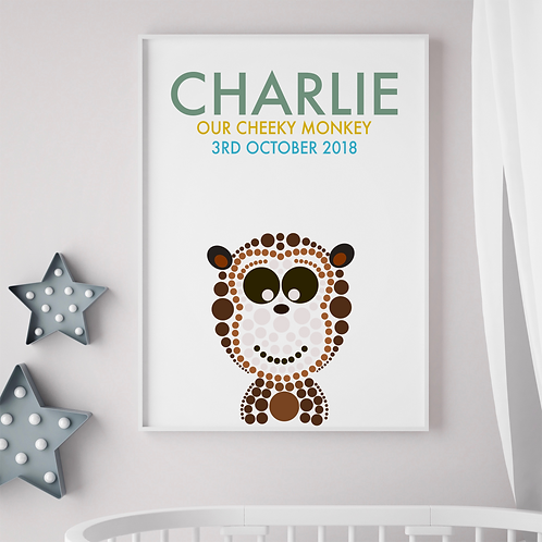 Personalised Monkey Birth Print