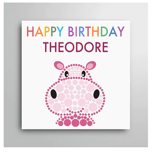 Personalised Happy Birthday Hippo Card