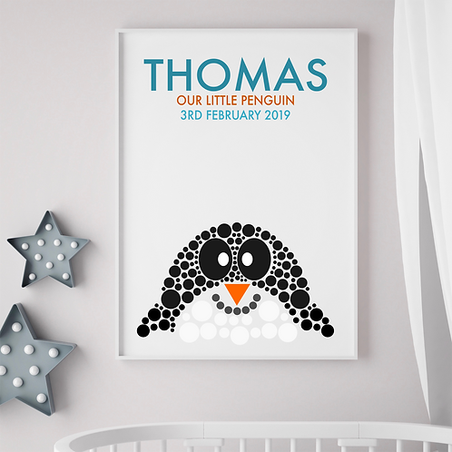 Personalised Penguin Birth Print