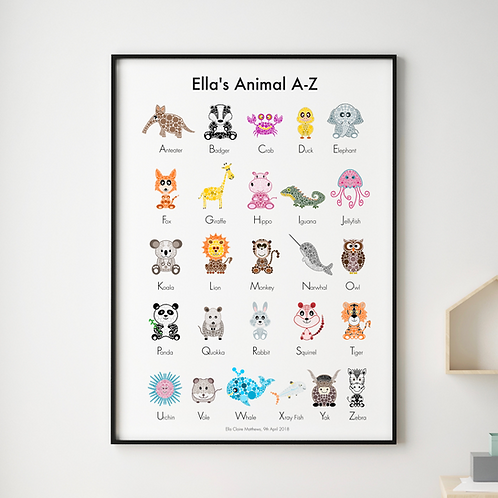 Personalised Animals A-Z Print