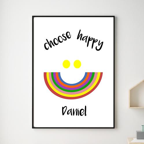 Personalised Choose Happy Print