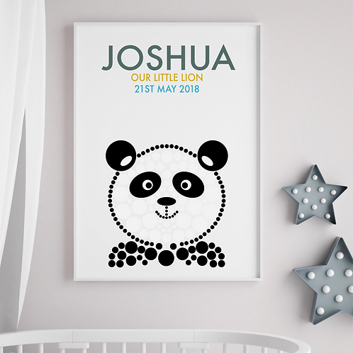 Personalised Panda Birth Print