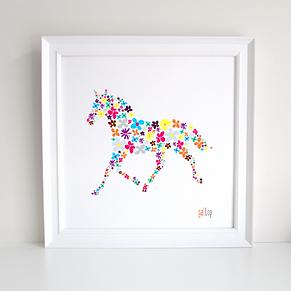 Horse decoupage art print