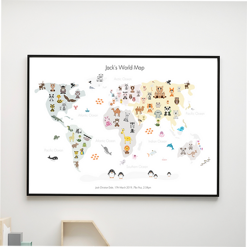 Personalised Animals World Map