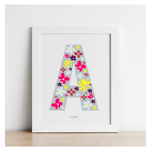 Personalised Typographic Abstract Flower Letters