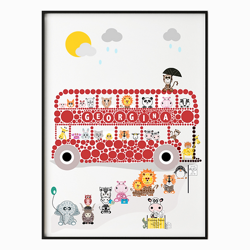 Personalised Big Fun Bus Poster Print