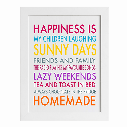 Typographic Happiness is Homemade Art Print