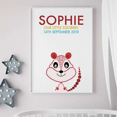Personalised Little Squirrel Print