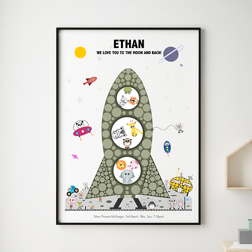 Personalised Animals Rocket Art Print