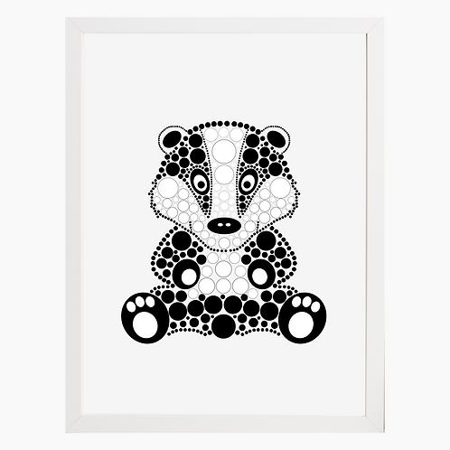 Badger Nursery Art Print