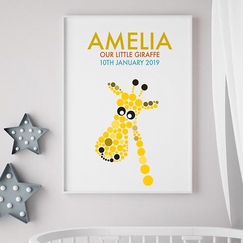 Personalised Giraffe Birth Print