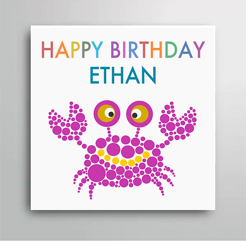 Personalised Happy Birthday Crab Card