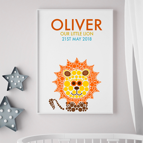 Personalised Lion Birth Print