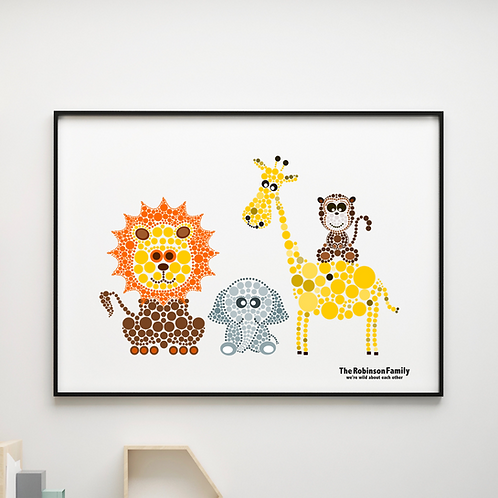 Personalised Animals Family Print