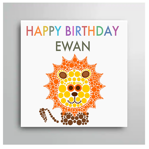 Personalised Happy Birthday Lion Card