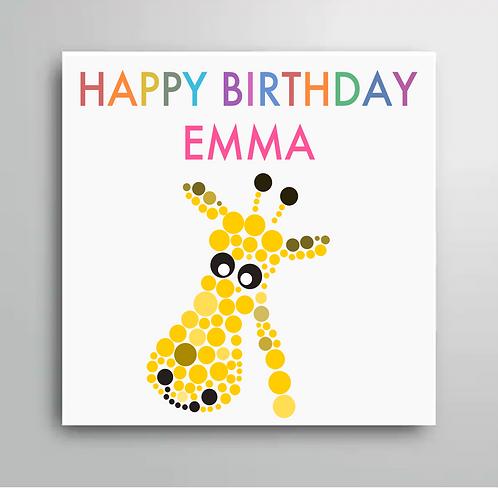 Personalised Happy Birthday Giraffe Card