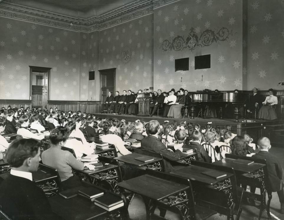 Model School Chapel Assembly, 1900