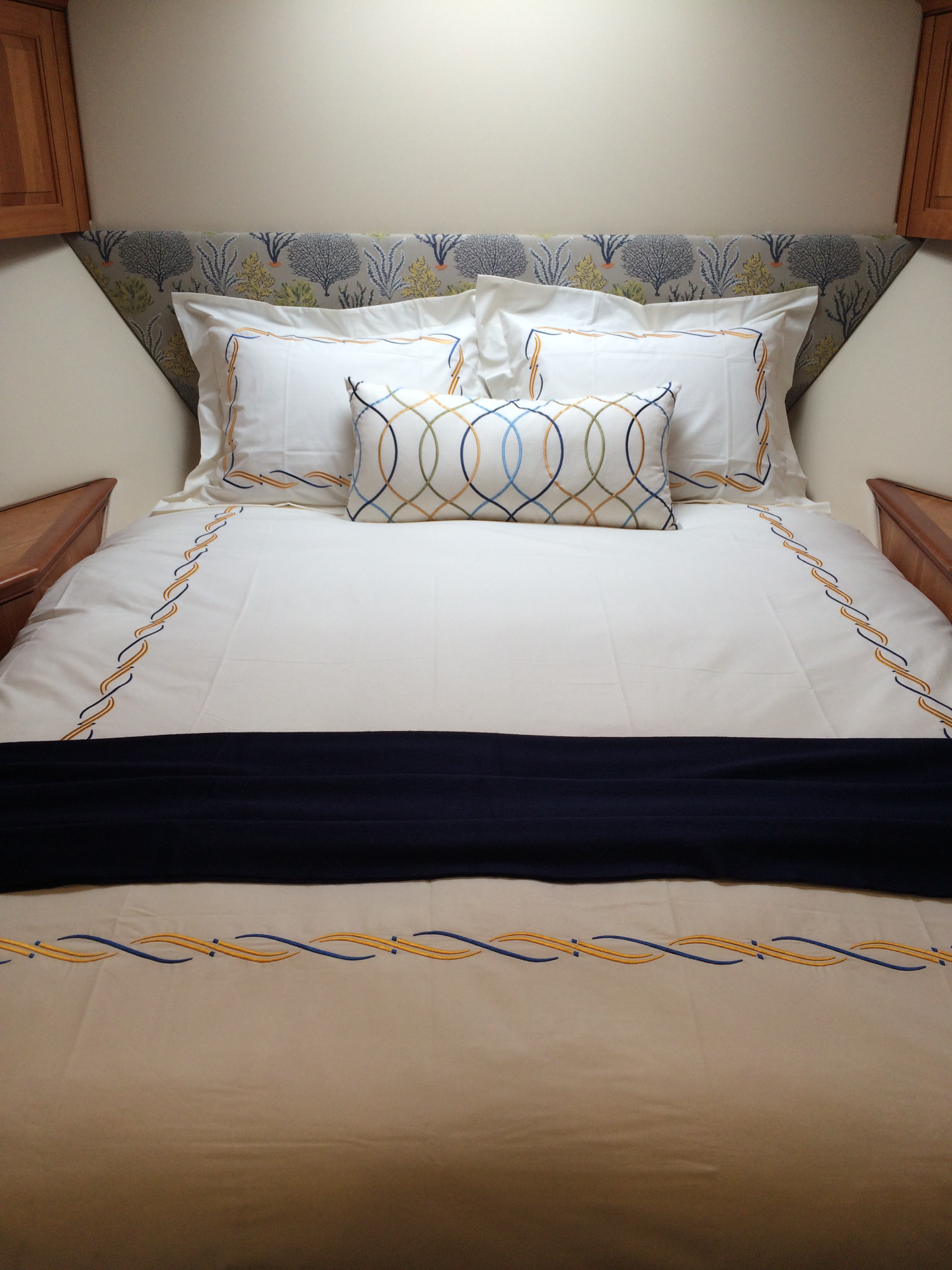 Blue, yellow embroidered duvet