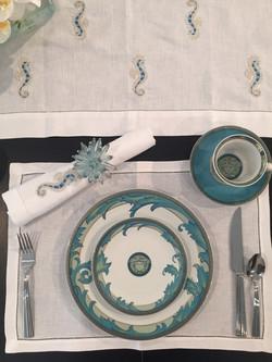 Custom seahorse table linen